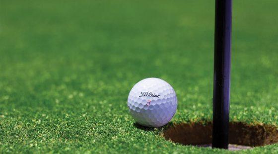A golf ball on a golf course