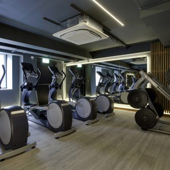Exercise bikes in the Core Gym at the Alex Hotel