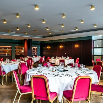 The function room set up for a private dining event at the Alex Hotel