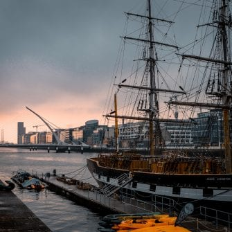 A tall ship parked in Dublin Docklands