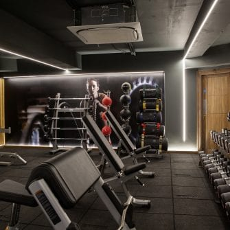 Benches beside free standing weights at Core Fitness gym