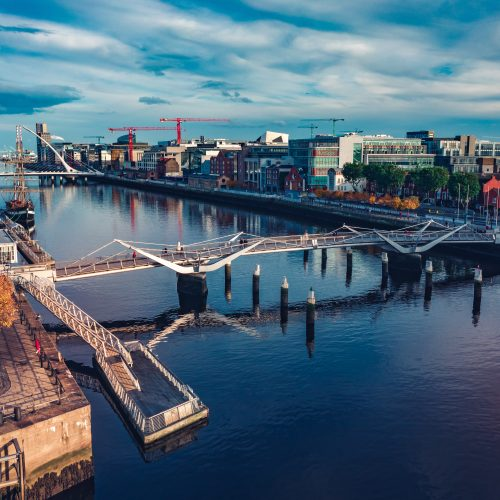 An overview of bridges along the dock in Dublin