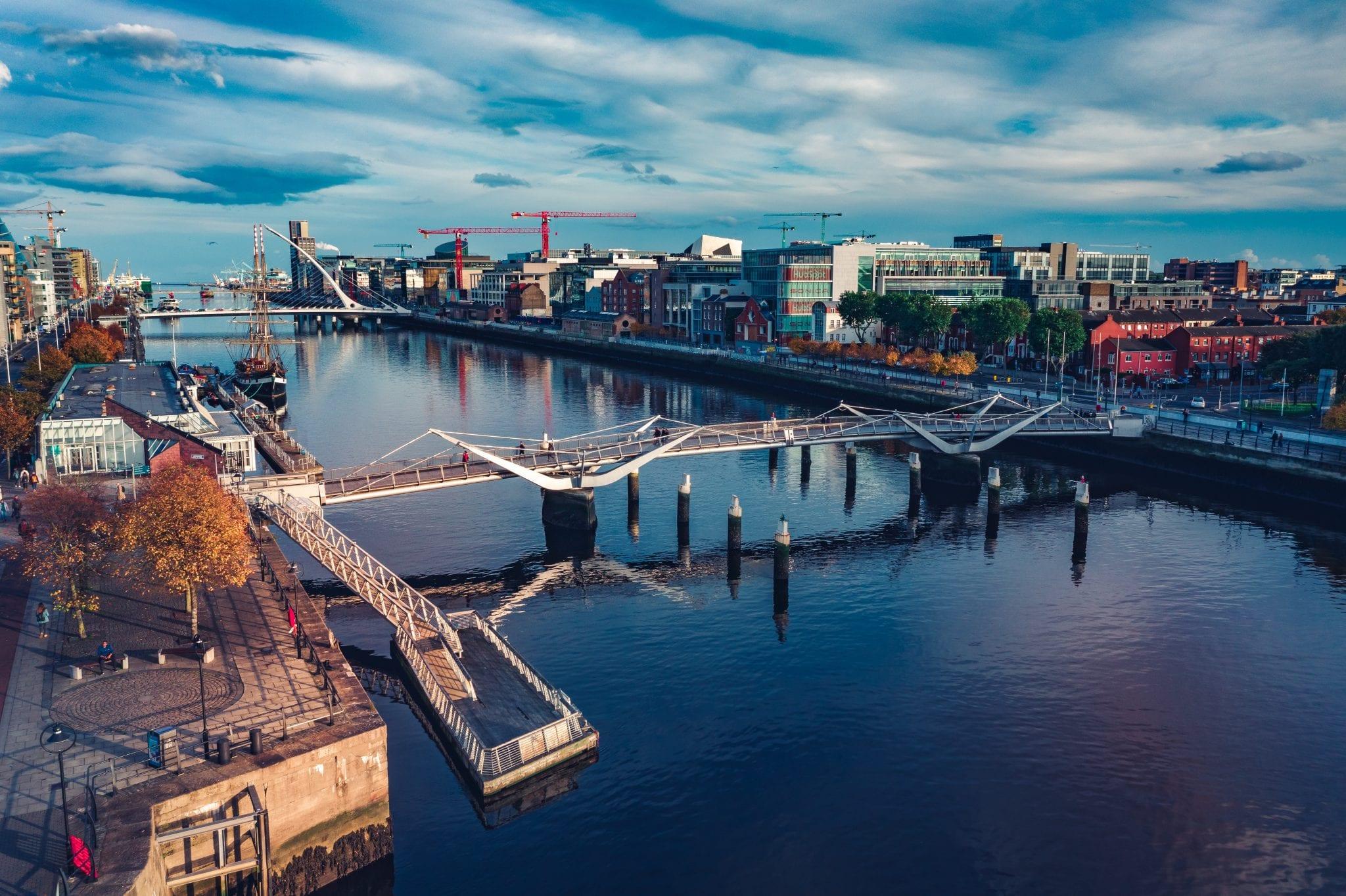 An overview of bridges along the dock in Dublin