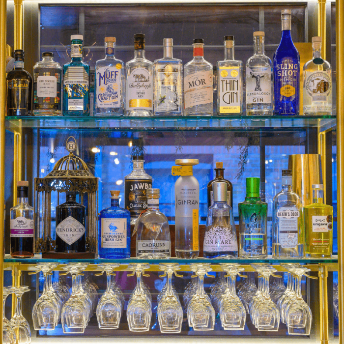 The drinks display at the Alex Hotel Outdoor restaurant