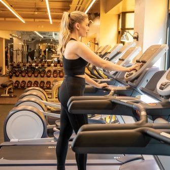 girl working out in the mont hotel gym